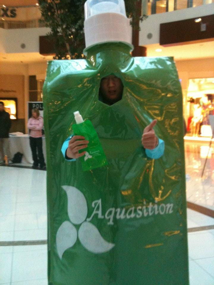 Fred Gou - Aquasition's President dressed up as an Aquasition bottle.