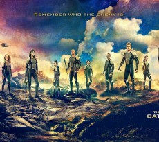 The main tributes in the 75th Hunger Games from left to right: Finnick Odair, Mags, Johanna Mason, Enobaria, Brutus, Wiress, Beetee, Cashmere, Gloss, Katniss Everdeen and Peeta Mellark.
