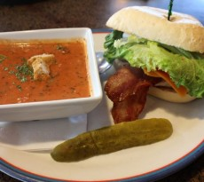 The Grilled Chicken N' Bacon sandwich, with delicious tomato basil soup.