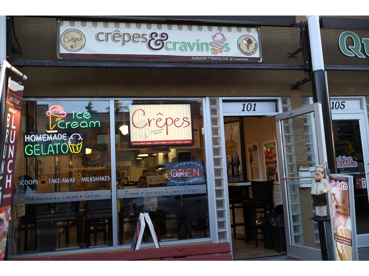 A shot of Crepes and Cravings within the pool of shops and stores on 17th avenue,
