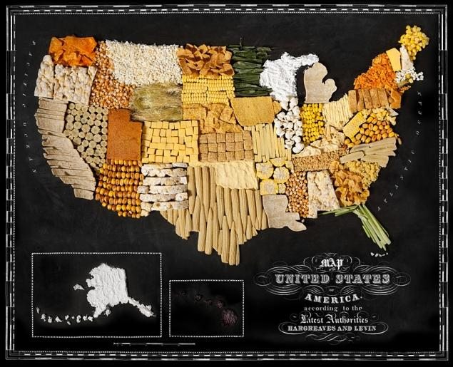 The United States, with corn based foods.