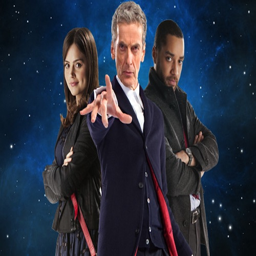The Doctor (middle), with his companions, Clara (left), and Danny (right)