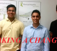 Megan C. (far left), Sidharth S. (left), Haroon M. (right), and Rahul A. (far right)