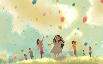 children_jump_run_grass_holiday_balloons_53824_3840x2400