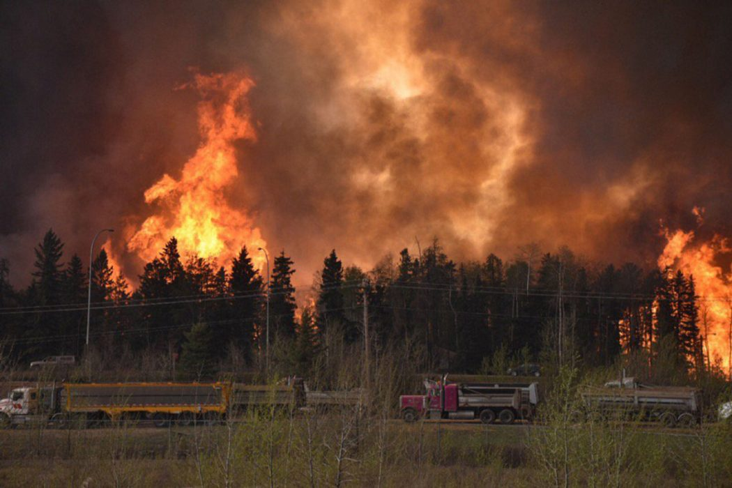Wildfire is worsening along highway 63 Fort McMurray Alberta Canada